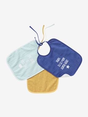 Nursery-Pack of 3 Baby Bibs in Muslin