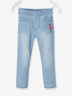 Girls-Trousers-Cropped Trousers in Light Denim, Embroidered Pink Flamingo