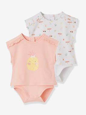 Bébé-T-shirt, sous-pull-Lot de 2 T-shirts bodies bébé fille assortis