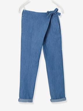 Vertbaudet Sale-Girls-Trousers in Light Denim with Sash Tie for Girls