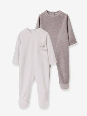 Vertbaudet Collection-Pack of 2 Velour Sleepsuits for Babies, Press Studs on the Back