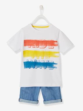 Boys-Shorts-T-Shirt + Bermuda Shorts Outfit with Graphic Motif, for Boys