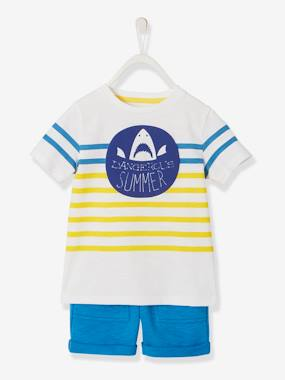 Vertbaudet Collection-Striped T-Shirt & Shorts Outfit for Boys