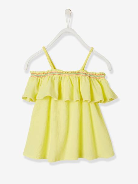 Embroidered Off-the-Shoulder Top for Girls YELLOW LIGHT SOLID WITH DESIGN - vertbaudet enfant