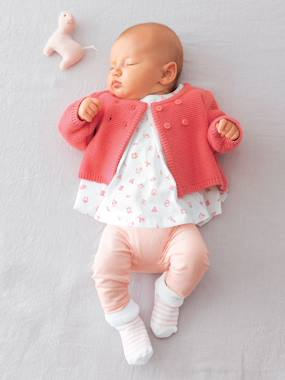 Baby clothing 0-18 months, newborn girl clothing, baby girl fashion clothes - Vertbaudet-Baby Tunic + Leggings + Knitted Cardigan