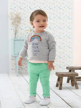 Baby-Jumpers, Cardigans & Sweaters-Sweatshirt with Rainbow Motif for Baby Girls