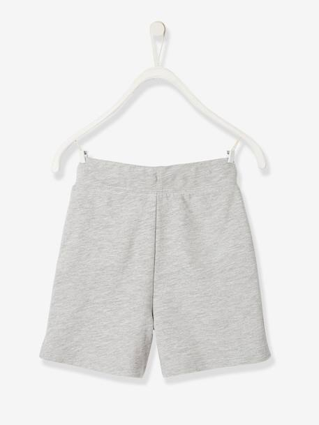 Fleece Bermuda Shorts, Graphic Motif, for Boys GREY LIGHT MIXED COLOR - vertbaudet enfant