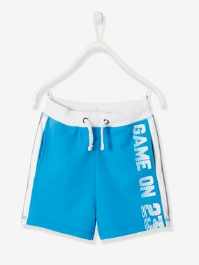 Boys-Shorts-Sports Bermuda Shorts, in Fleece, Reflective Stripes, for Boys