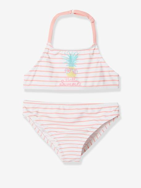 0f19facec5 Striped Bikini with Pineapple, for Girls - pink light solid with design,  Girls