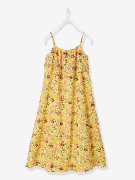 Long Dress with Flower Print, for Girls BLACK DARK ALL OVER PRINTED+WHITE LIGHT ALL OVER PRINTED+YELLOW LIGHT ALL OVER PRINTED - vertbaudet enfant