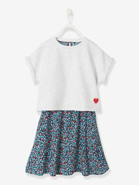 Vertbaudet Sale-Girls-Printed Dress + Short-Sleeved Sweatshirt Outfit, for Girls