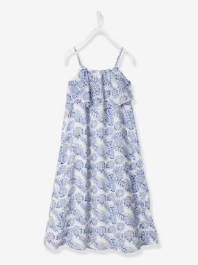 Vertbaudet Sale-Girls-Long Dress with Flower Print, for Girls