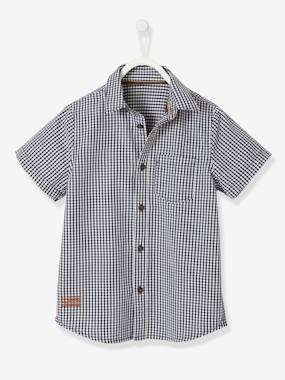 Boys-Shirts-Short-Sleeved Shirt with Vichy Motif, for Boys