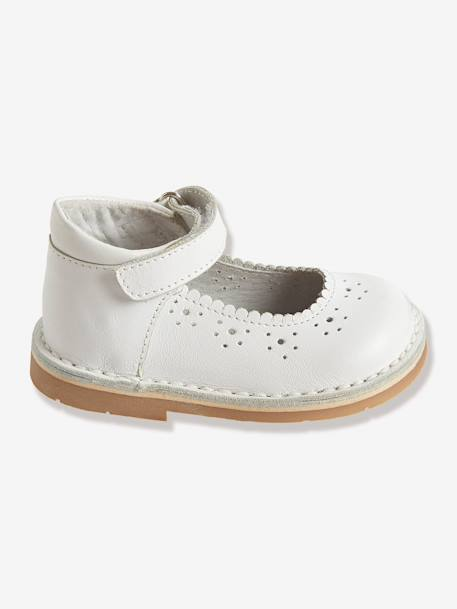 Baby Girls' Leather Mary Jane Shoes With Touch N Close Tabs White - vertbaudet enfant