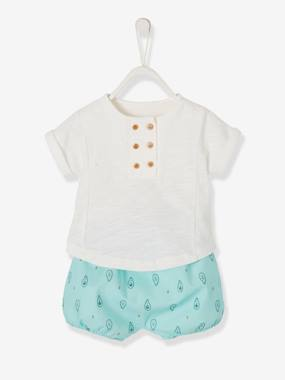 Festive favourite-Occasion Printed Shorts & T-Shirt-Bodysuit Ensemble for Newborn Babies