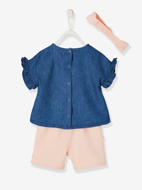 Ruffled Ensemble for Baby Girls, Denim Blouse + Shorts + Headband BLUE DARK WASCHED - vertbaudet enfant