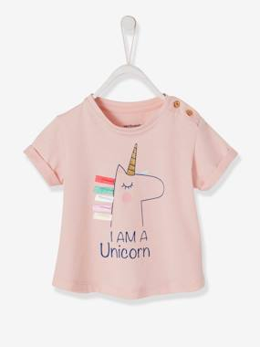 Baby-T-shirts & Roll Neck T-Shirts-T-shirts-T-Shirt with Rainbow or Unicorn Motif and 3D Details, for Baby Girls