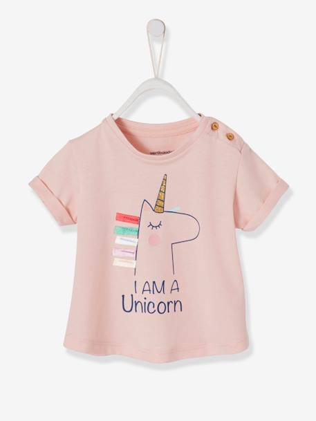 new appearance newest collection good selling T-Shirt with Rainbow or Unicorn Motif and 3D Details, for Baby Girls - pink  light solid with design, Baby