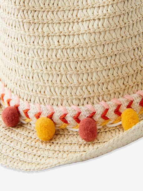 Panama-Type Straw Hat with Ribbon & Pompons for Girls ORANGE MEDIUM SOLID+RED LIGHT SOLID - vertbaudet enfant