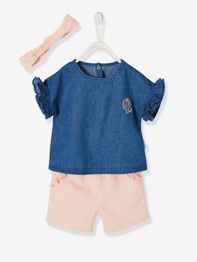 Baby-Outfits-Ruffled Ensemble for Baby Girls, Denim Blouse + Shorts + Headband