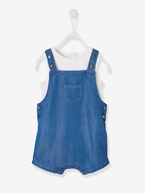 Baby-Dungarees & All-in-ones-Printed Bodysuit + Short Dungarees Ensemble for Baby Boys
