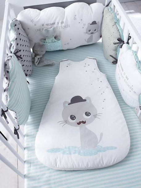 Printed Fitted Sheet, Cat Theme Blue/off-white striped - vertbaudet enfant