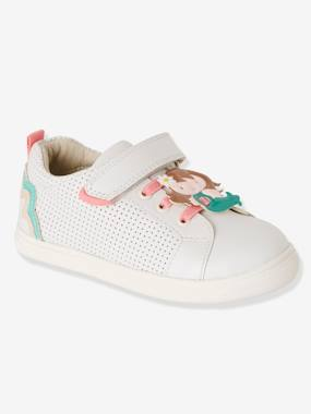 Vertbaudet Collection-Shoes-Girls' Leather Trainers, Autonomy Collection