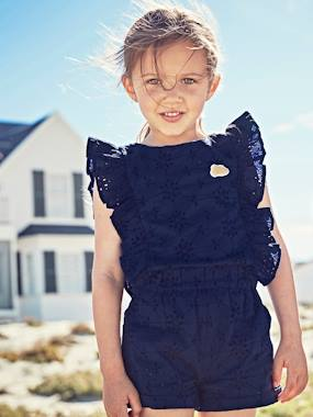 Girls-Dungarees & Playsuits-Jumpsuit with Broderie Anglaise for Girls