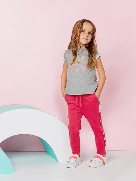 Jogger-Type Trousers for Girls BLUE DARK SOLID+RED MEDIUM SOLID - vertbaudet enfant