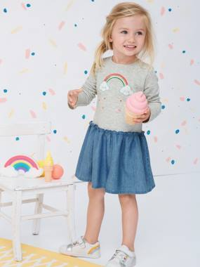 Vertbaudet Sale-Girls-Dual Fabric Dress with Embroidered Rainbow for Girls