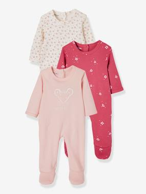 Baby-Babies Pack of 3 Pyjamas, Press-studs on the Back