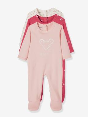 Vertbaudet Collection-Baby-Babies Pack of 3 Pyjamas, Press-studs on the Back