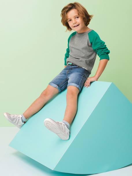 Denim Bermuda Shorts, for Boys BLUE DARK WASCHED - vertbaudet enfant