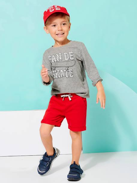 Boys' Fleece Bermuda Shorts BLUE DARK SOLID+GREY MEDIUM MIXED COLOR+RED DARK SOLID - vertbaudet enfant