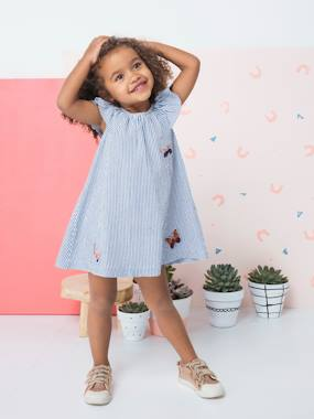 Girls-Dress with Ruffle & Embroidered Butterflies for Girls
