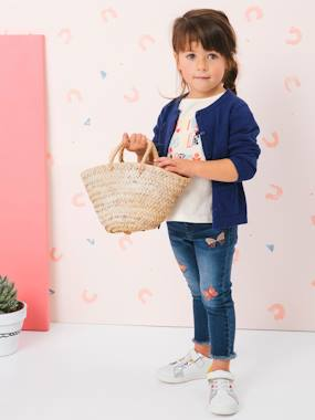 Vertbaudet Collection-Girls-Trousers-Slim Leg Jeans with Embroidered Butterflies for Girls