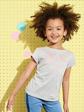 Bonnes affaires-Girls-Tops-T-Shirt for Girls with Fancy Message in Iridescent Puff Ink