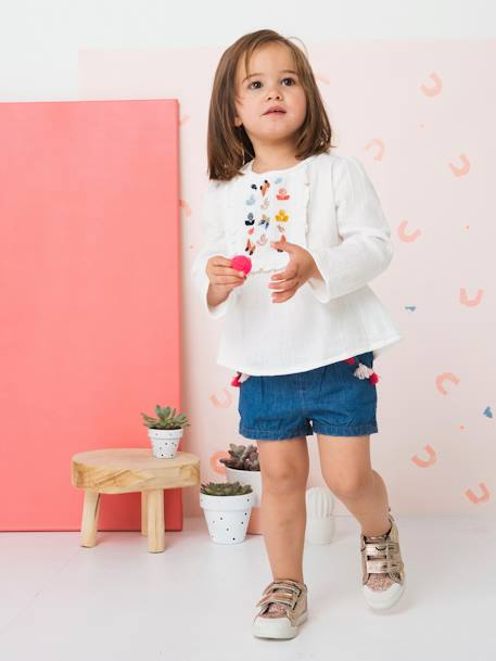 Embroidered Blouse with Stylish Ruffles for Girls WHITE LIGHT SOLID WITH DESIGN - vertbaudet enfant
