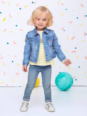 Girls-Coats & Jackets-Denim Jacket with Iridescent Graffiti & Embroidered Patch for Girls