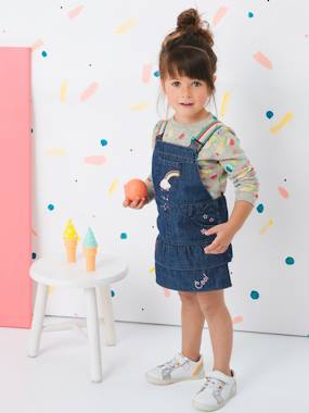 Vertbaudet Sale-Girls-Denim Dungaree Dress, with Iridescent Graffiti for Girls