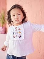 Embroidered Blouse with Stylish Ruffles for Girls  - vertbaudet enfant