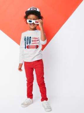 Boys-Tops-T-Shirts-Long-Sleeved Top with Skateboard, Details in Puff Ink Print, for Boys