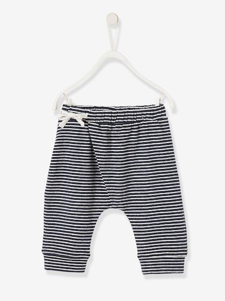 Soft Jersey Knit Trousers for Newborn Babies BLUE DARK STRIPED+BLUE LIGHT SOLID+GREY LIGHT MIXED COLOR+GREY LIGHT STRIPED+PINK DARK MIXED COLOR+WHITE LIGHT ALL OVER PRINTED - vertbaudet enfant