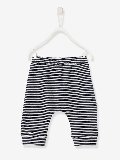 Soft Jersey Knit Trousers for Newborn Babies BLUE DARK STRIPED+BLUE LIGHT SOLID+WHITE LIGHT ALL OVER PRINTED - vertbaudet enfant