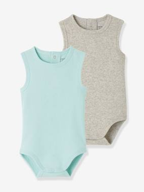 Baby-Bodysuits & Sleepsuits-Pack of 2 Ribbed Knit Sleeveless Bodysuits for Babies
