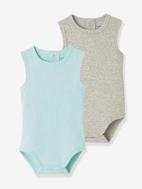 Pack of 2 Ribbed Knit Sleeveless Bodysuits for Babies BLUE LIGHT TWO COLOR/MULTICOL - vertbaudet enfant