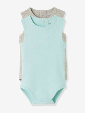 Basics and Multipacks-Baby-Pack of 2 Ribbed Knit Sleeveless Bodysuits for Babies