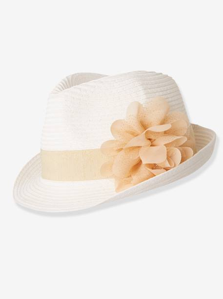 Panama-Style Hat for Girls, Tulle Flower WHITE LIGHT SOLID - vertbaudet enfant