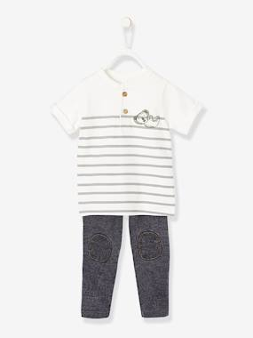 Baby-Outfits-Striped T-Shirt + Fleece Trouser Ensemble for Baby Boys