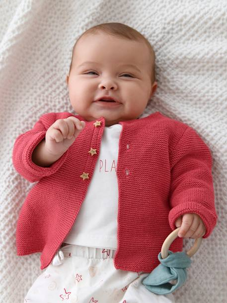 Knitted Cardigan in Purl Stitch for Newborns BLUE DARK SOLID+GREY LIGHT SOLID+PINK DARK SOLID+PINK LIGHT SOLID+WHITE LIGHT SOLID - vertbaudet enfant